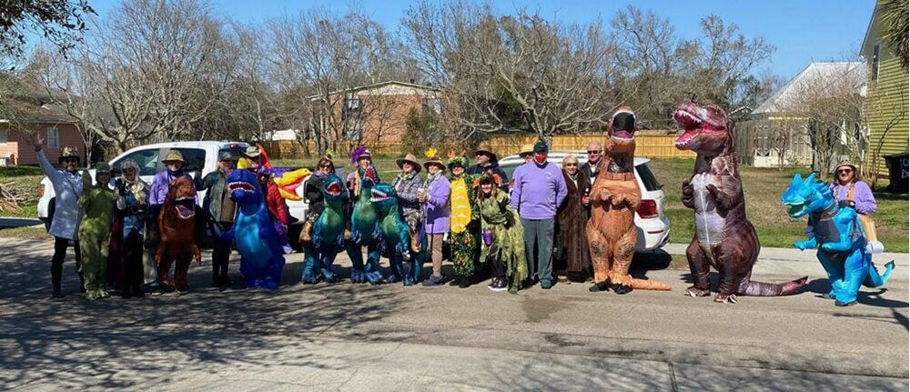 The T-Rex Jurassic Walking Club assembles