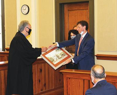Judge Clark receives painting