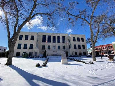 Snow-covered courthouse