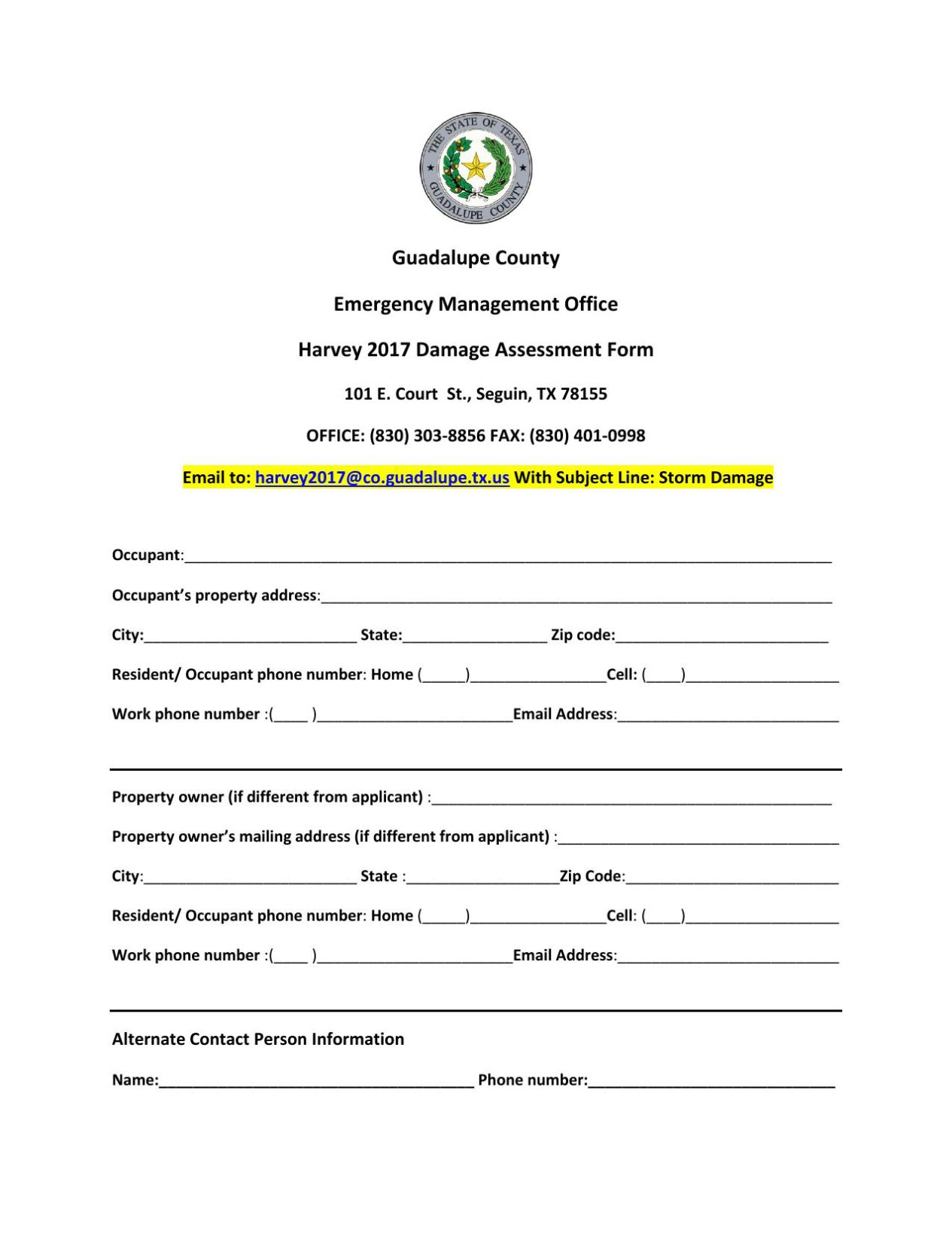 Guadalupe County Damage assessment form - Seguin Gazette: Home