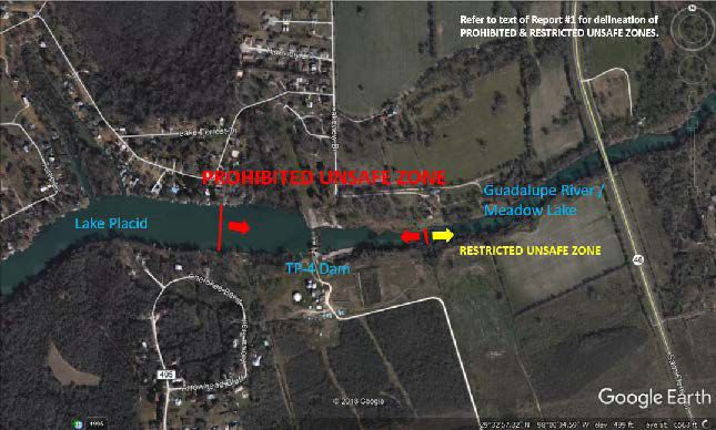 Guadalupe Valley Lakes unsafe/restricted zones