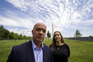 <p>In this June 24, 2019, photo, former Venezuelan police commissioner Ivan Simonovis poses for a photograph with his wife Bony Pertnez in Washington. In his first interview from exile in the U.S., Simonovis, the former police commissioner whose about 15-year detention became an opposition rallying cry, shares details of his movie-like breakout. (AP Photo/Alex Brandon)</p>