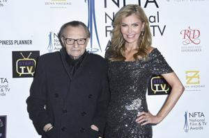 <p>In this Dec. 5, 2018 file photo Larry King, left, and Shawn King attend the 2018 National Film &amp; Television Awards at the Globe Theatre in Los Angeles. King has filed for divorce from his seventh wife, Shawn King, after 22 years. The 85-year-old talk show host filed a petition to end the marriage Tuesday, Aug. 20, 2019 in Los Angeles Superior Court. (Photo by Richard Shotwell/Invision/AP)</p>