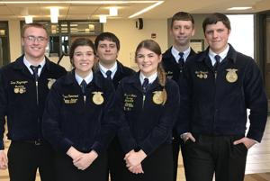 <p>Advanced Parliamentary Procedure Team members: Back Row (Left to Right) Zane Hagemeyer, Zach George, Anthony Wise, and Noah Veryser. Front Row (Left to Right) Grace Tienarend and Savanna Walter.</p>