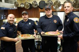 Firefighters' pizza is for meat lovers