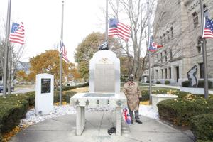 <p><span>File. David Ridenour stands next to a memorial</span>during aVeterans Day Ceremony at the Wood County Courthouse. Eastwood and Elmwood students are raising money for the new memorial at the courthouse.</p>