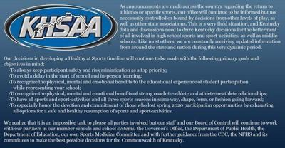 KHSAA releases Healthy at Sports Position Statement