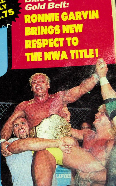 Ronnie Garvin Is Lifted Into The Air By Nikita Koloff And Congratulated By  Barry Windham After Winning The NWA Title From Ric Flair In 1987.