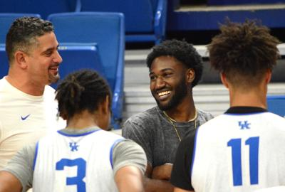 Dominique Hawkins was all smiles as he met the Wildcats at Rupp Arena on Monday. (Kentucky Today/Keith Taylor)