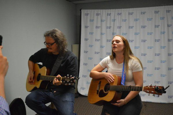 Sydney Adams performs live in the newsroom