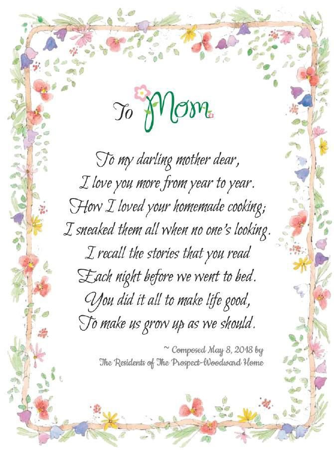 Mothers Day Poem Local Arts Sentinelsourcecom