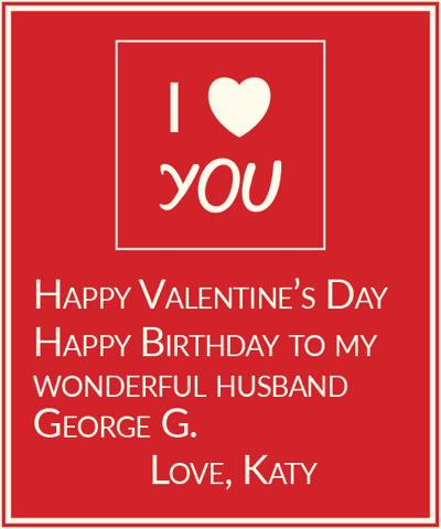 To George, Love Katy