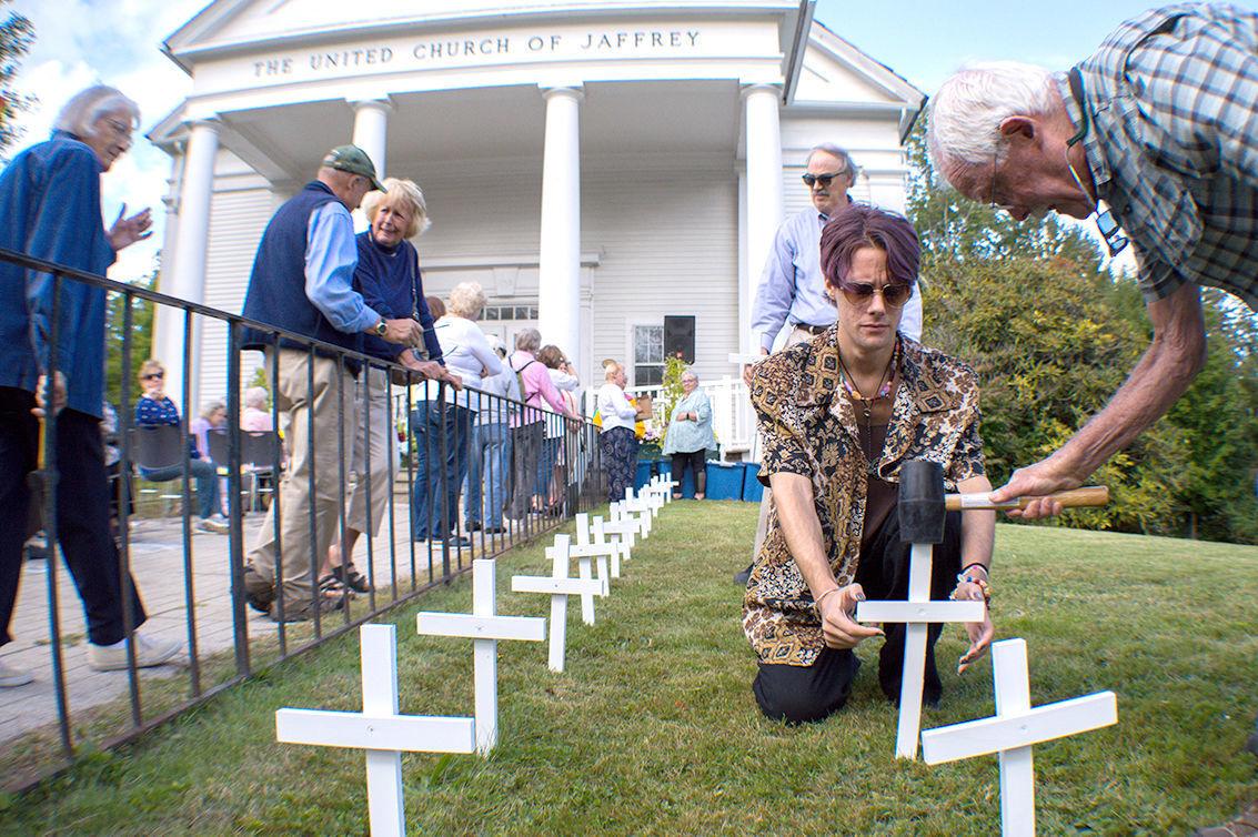 Jaffrey church memorial crosses 2