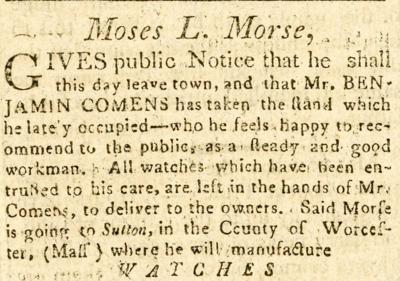 Morse ad in The Sentinel