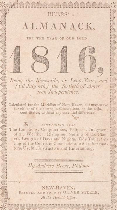 Beers Almanack of 1816