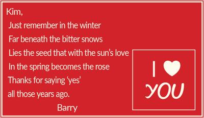 To Kim, Love Barry