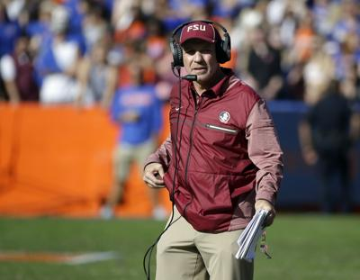 Florida State head coach Jimbo Fisher is pictured during the second half of  last Saturday s game against Florida in Gainesville b623451f6