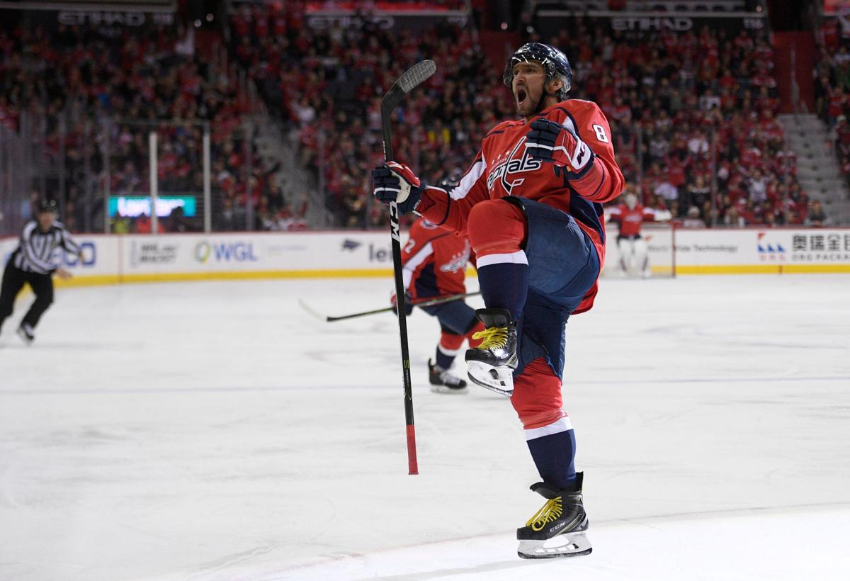 8f3fd1d03 Capitals  left winger Alex Ovechkin celebrates his third-period goal  against the New Jersey Devils during Saturday s game in Washington.