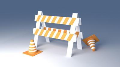 road construction cones, sawhorse