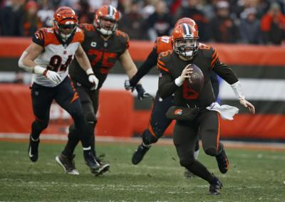 low priced a815e 8f5c2 Mayfield throws 3 TD passes as Browns beat Bengals, 26-18 ...