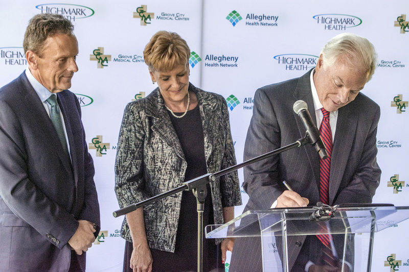 Grove City Medical Center merging into Allegheny Health Network sign