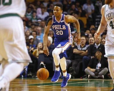 73ac8966fa9 Markelle Fultz. In this Oct. 9, 2017, file photo, Philadelphia 76ers' guard  Markelle Fultz brings the ball up the court ...