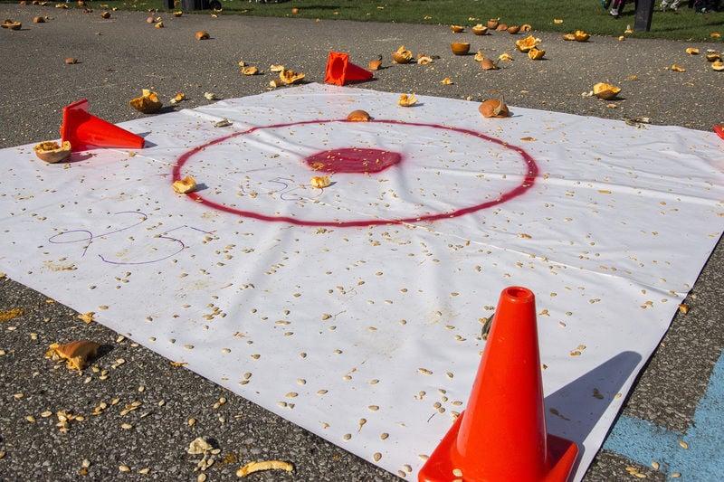 Musser school staff dominates Sharon first responders in annual Pumpkin Toss