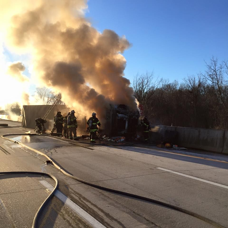 Tractor-trailer crashes, catches fire on turnpike | Police | shipnc com