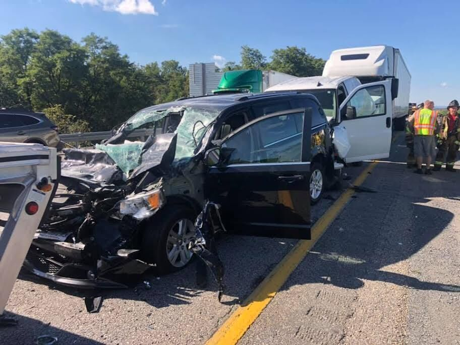 Nine Vehicle Crash