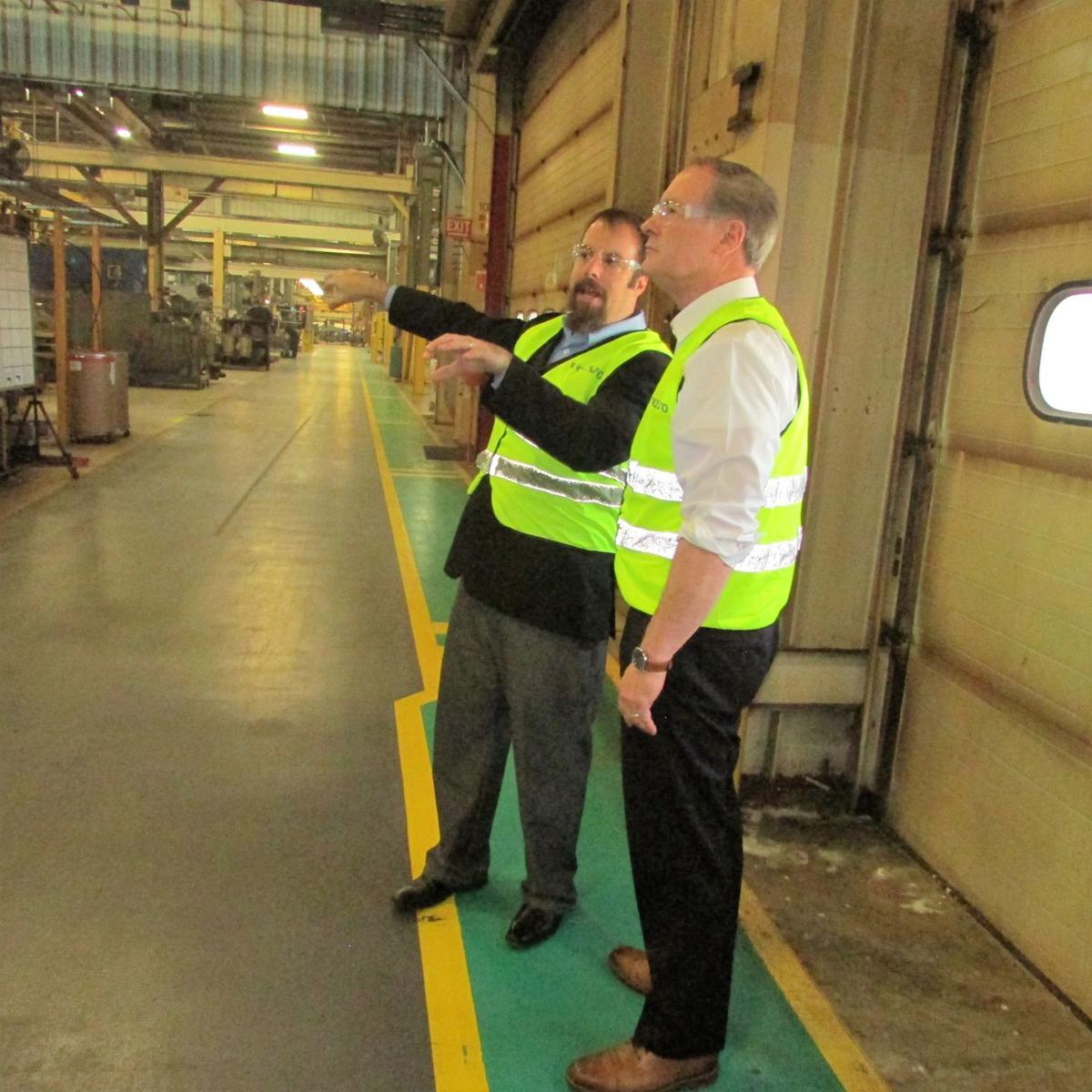 Volvo CE executives give Joyce a tour of the Shippensburg plant | Local News | shipnc.com