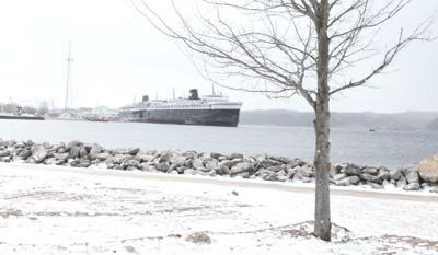Snowfall on Lake Michigan