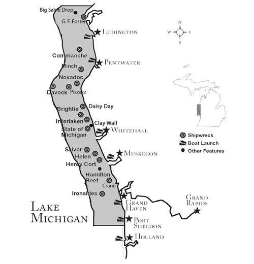 Map Of West Michigan Underwater Preserve Shorelinemedia Net