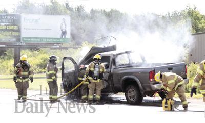 No injuries in U S  10 truck fire | Local | shorelinemedia net