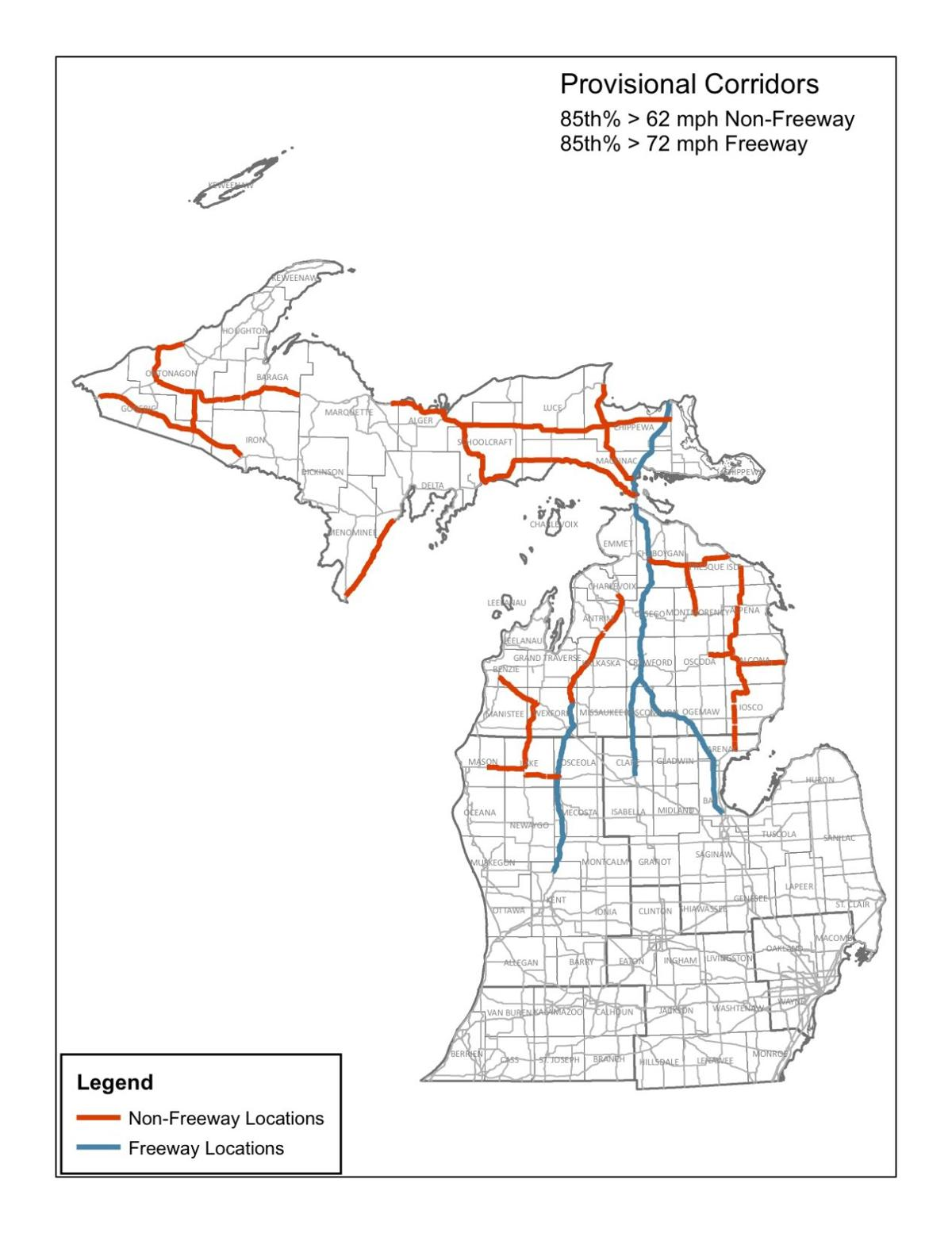 New State Law Could Raise Speed Limit On US M Ludington - Map of speed limits in us