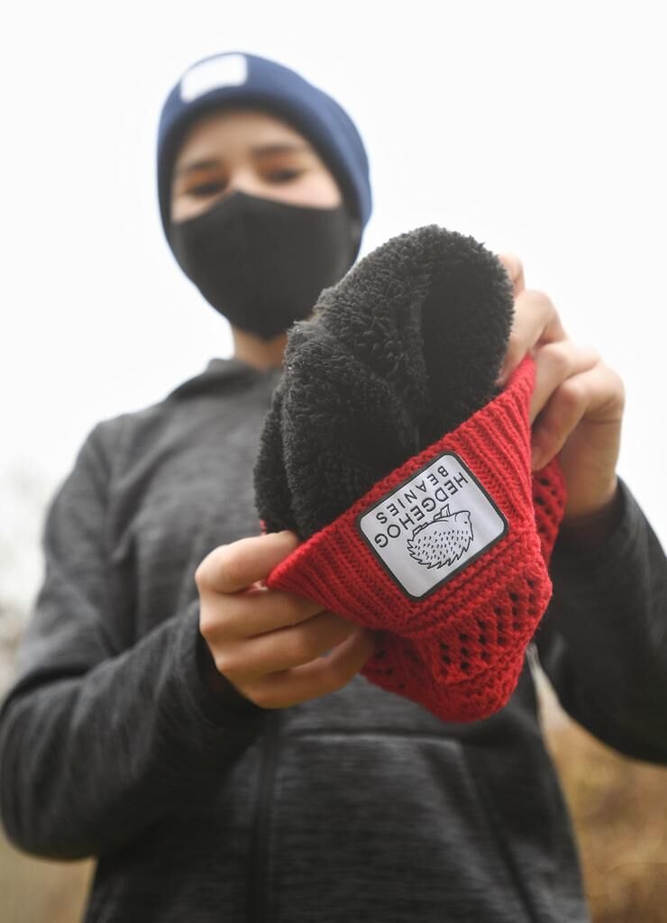 Guilford teen created his own biz, Hedgehog Beanies to give winter hats to the homeless