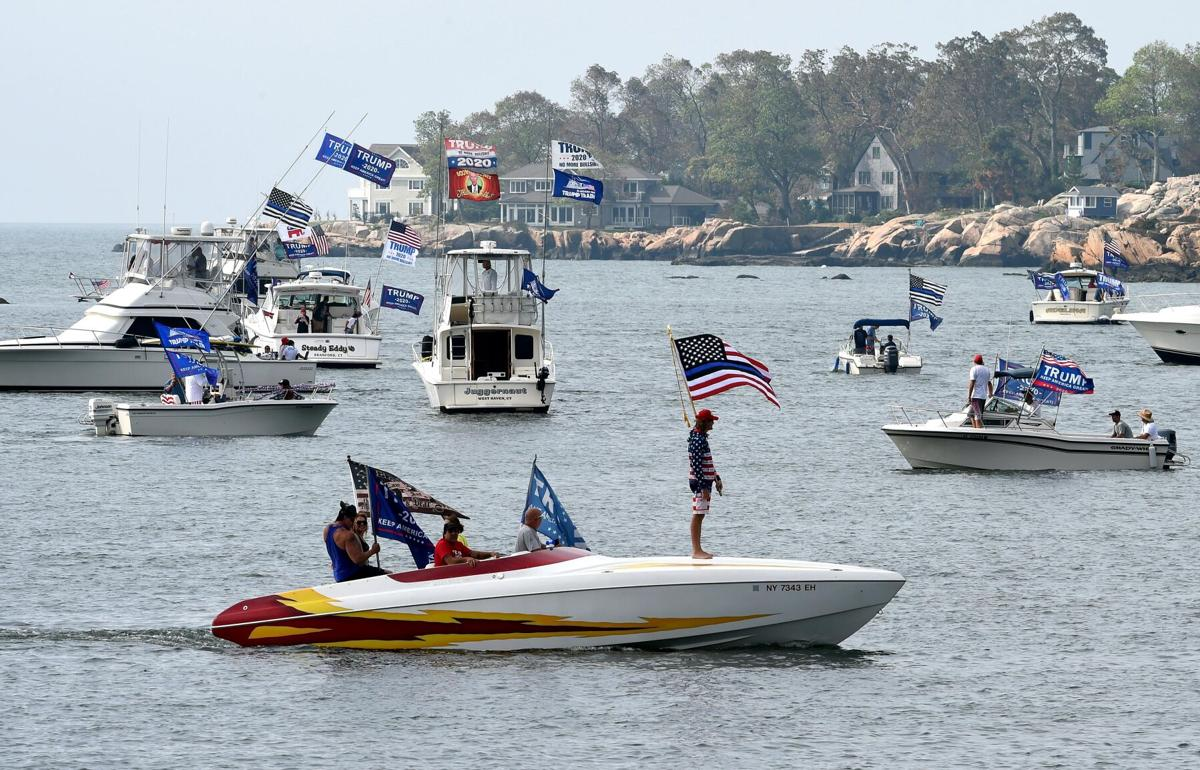 Boaters for Trump parade draws hundreds to Branford, with a handful of Biden supporters mixed in