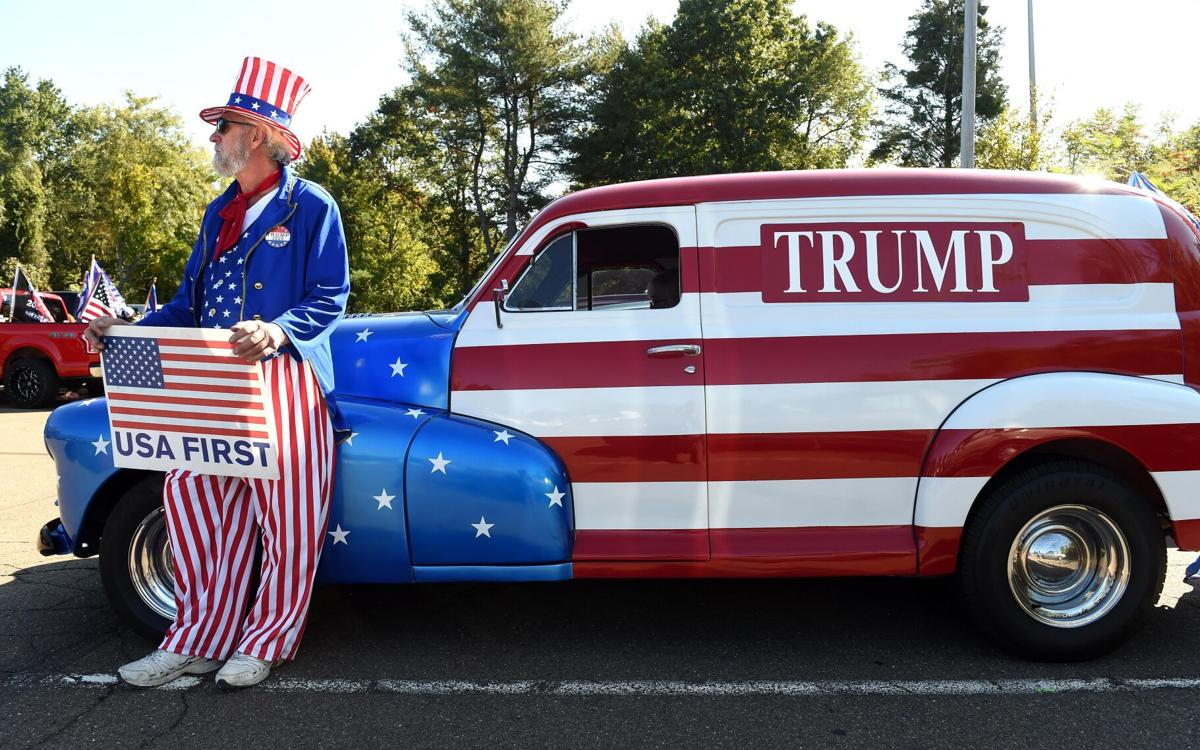Enthusiastic crowd floods Guilford for Trump Car Parade