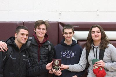 Nicole Lucina | Sidney Herald The Sidney team consisting of, from left, Wyatt Heringer, Cooper McGlothlin, Caleb Slade and Nic Trevino earned first place in the junior-senior division for the Montana Council of Teachers of Mathematics' regional meet in Sidney on Tuesday.