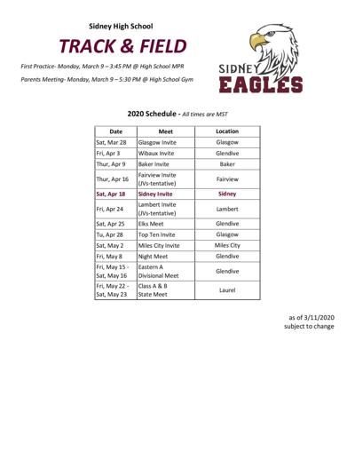 2020 Sidney Eagles track and field schedule