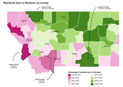Residents born in Montana by county
