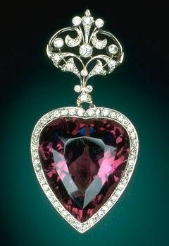 Legendary Gemstones: Amethyst  Heart  Brooch