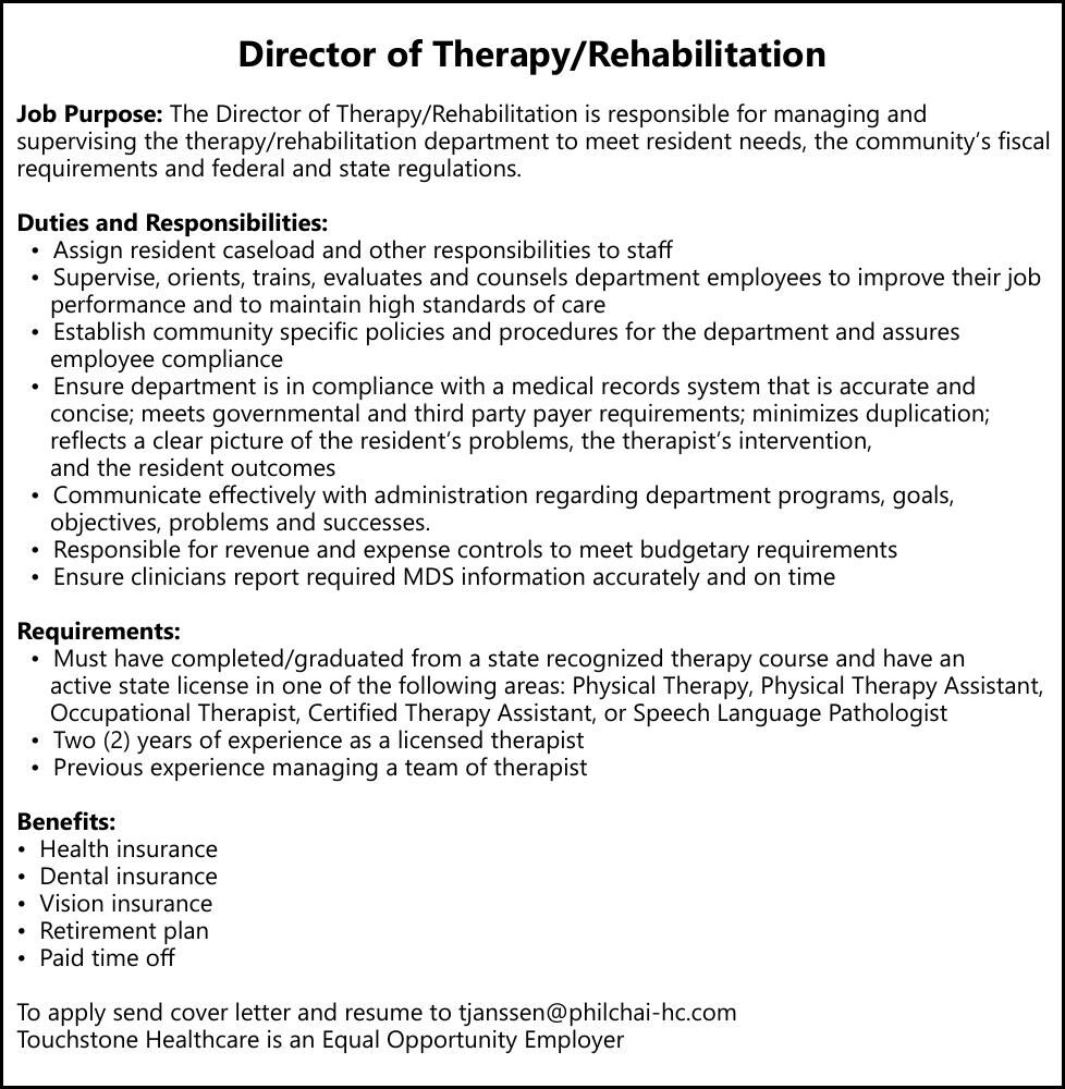 Director of Therapy/Rehabilitation - Touchstone Healthcare Community