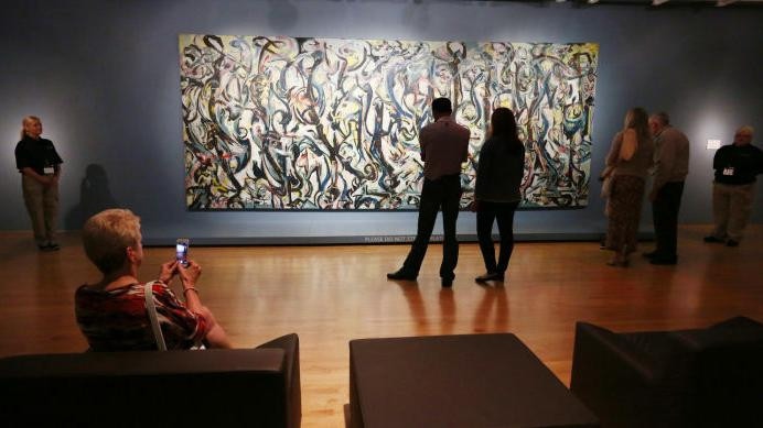 Photo jackson pollock mural exhibit opens at sioux city for Jackson 5 mural