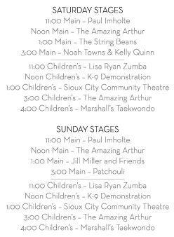 2018 Artsplash Stage Schedule
