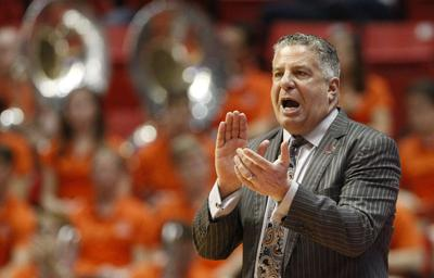 Auburn head coach Bruce Pearl encourages his players against Charleston in the first half during the first round of the NCAA Tournament at the Viejas Arena in San Diego on Friday, March 16, 2018.