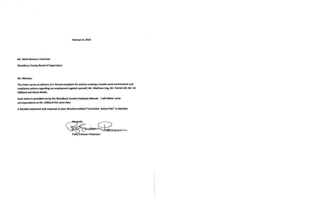 Hostile Work Environment Complaint Letter.Woodbury County Official Lodges Hostile Workplace Complaint