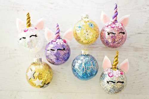these diy glitter unicorn ornaments are the cutest thing to put on your christmas tree this