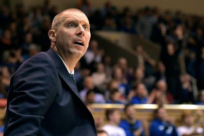 Utah Valley head coach Mark Pope reacts during a game against Duke at Cameron Indoor Stadium in Durham, N.C., on November 11, 2017. (Lance King/Getty Images/TNS) **FOR USE WITH THIS STORY ONLY**