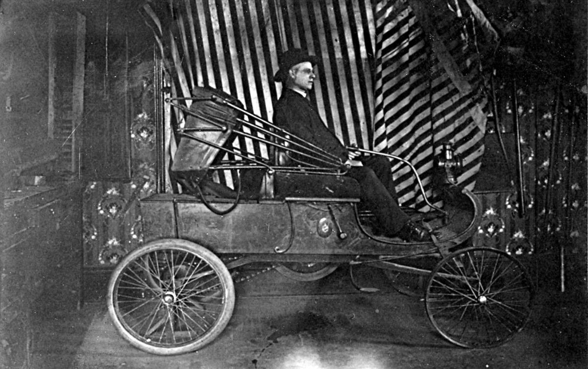 Father Gerleman with Oldsmobile, ca. 1908