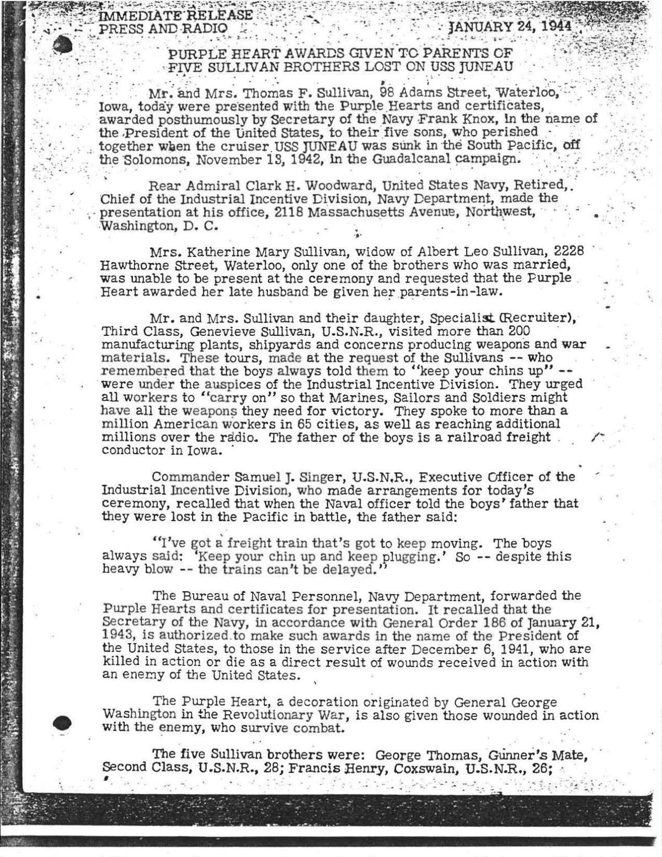 U.S. Navy Sullivan Purple Hearts document Jan. 24, 1944